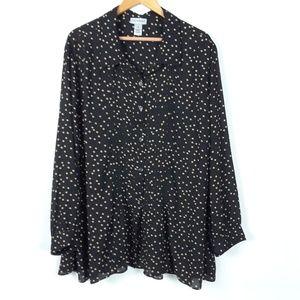Catherines polka dot black and tan top 3X